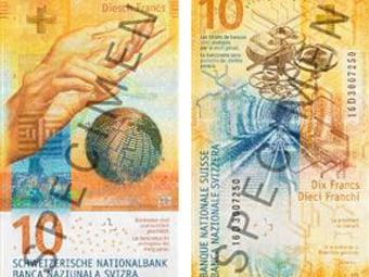 Die neue 10-Franken-Note bei der Schaffhauser Kantonalbank